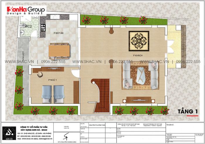 Bản vẽ tầng 1 biệt thự phong cách tân cổ điển đẹp và sang tại Thái Bình
