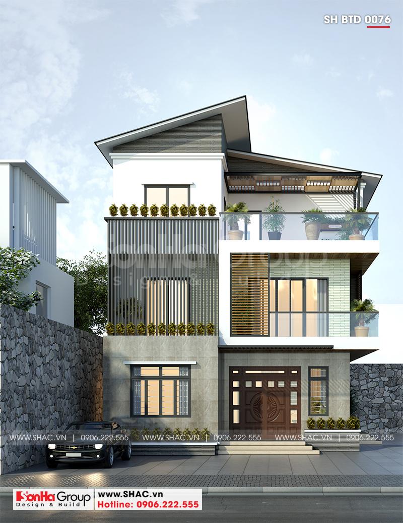 Biệt thự phố 3 tầng hiện đại sở hữu mái thái thiết kế ấn tượng