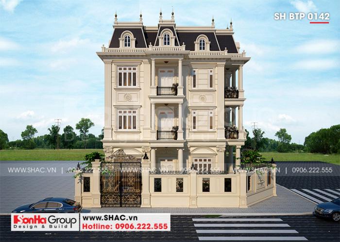 Kiến trúc biệt thự tân cổ điển 4 tầng có gara ô tô với công năng khoa học
