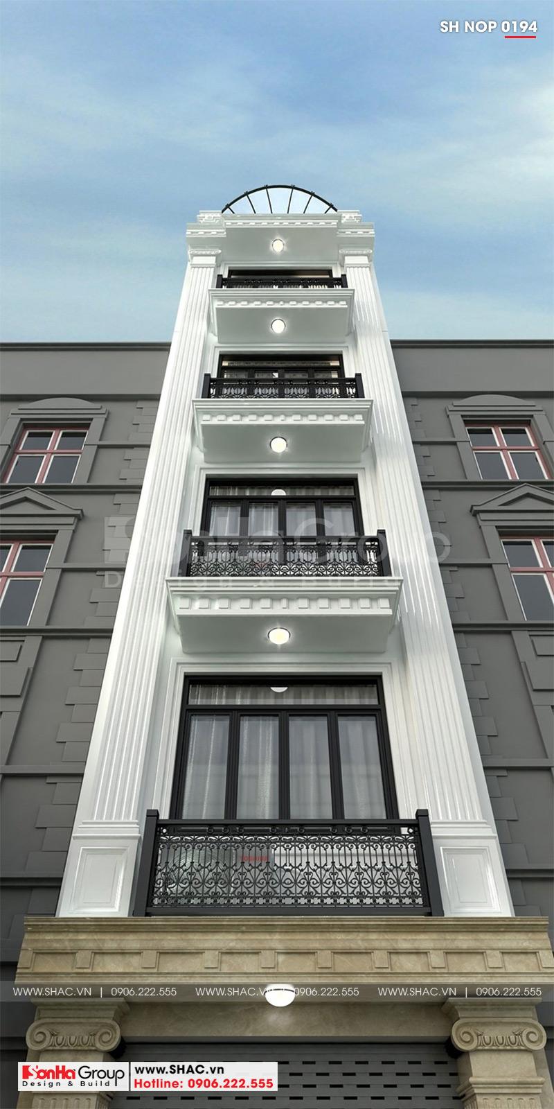 Mẫu mặt tiền nhà phố đẹp phong cách tân cổ điển 6 tầng kết hợp kinh doanh