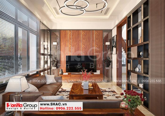 Thiết kế nội thất phòng khách hiện đại sang trọng với đồ nội thất gỗ