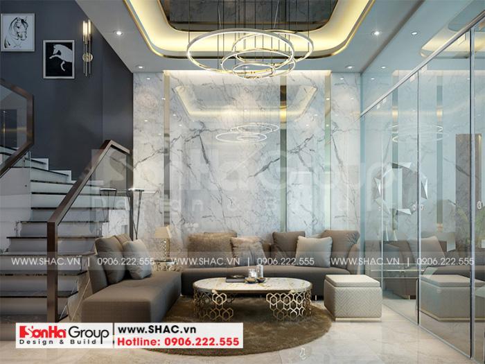 Bố trí nội thất phòng khách hiện đại tại tầng 1 với vị trí trung tâm của ngôi nhà đúng yêu cầu mà chủ đầu tư Thảo đề ra