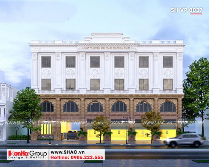 Phối cảnh mặt tiền công trình tòa nhà văn phòng 4 tầng mang vẻ đẹp kiến trúc tân cổ điển tinh tế cuốn hút mọi ánh nhìn