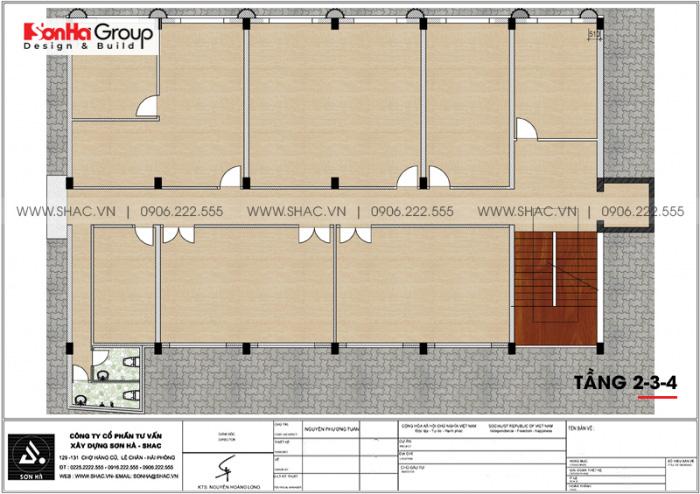 4 Bản vẽ tầng 2 3 4 tòa nhà văn phòng đẹp tại hải phòng sh vp 0032