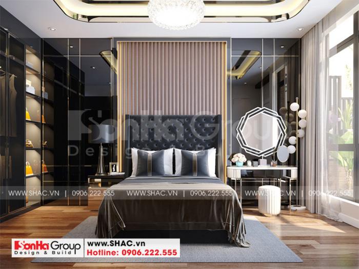 Mẫu thiết kế nội thất phòng ngủ hiện đại đẹp cho hai người với vật dụng trang trí tiện nghi, ngăn nắp đem lại sắc màu bắt mắt cho vợ chồng gia chủ
