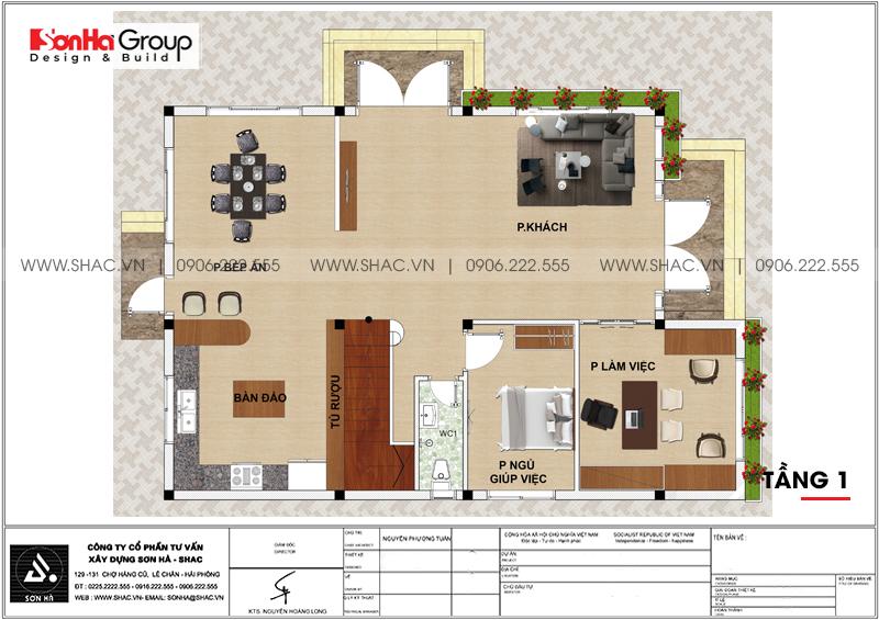 Biệt thự hiện đại 3 tầng mái thái diện tích 9,2x11,7m tại Hà Nam – SH BTD 0076 4