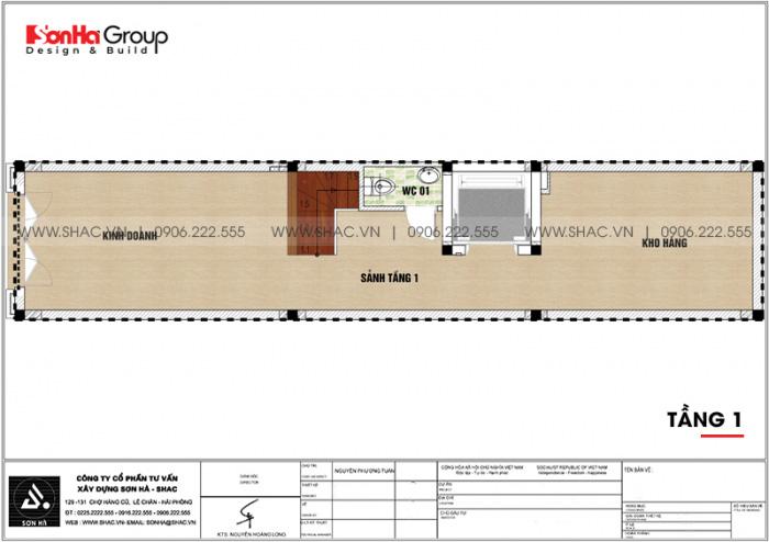 Mặt bằng công năng tầng 1 nhà ống tân cổ điển 6 tầng kết hợp kinh doanh