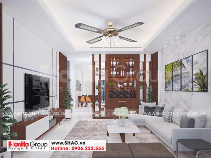 Thiết kế nội thất phòng khách hiện đại nhà ống 3 tầng sang trọng tại Hải Phòng