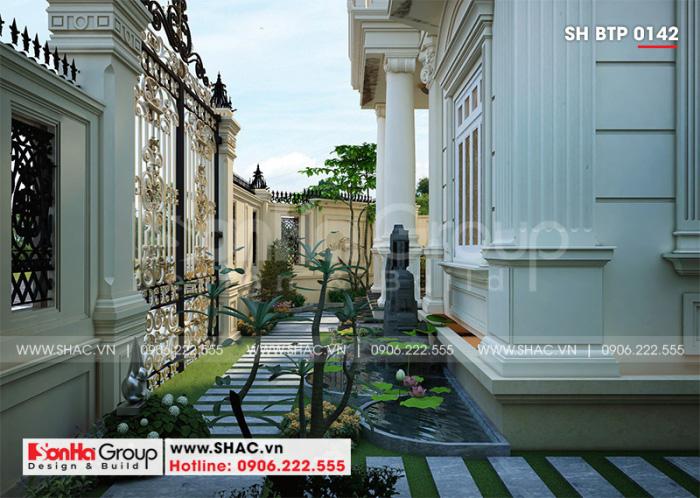 Phương án thiết kế sân vườn ngôi biệt thự đẹp 4 tầng tân cổ điển