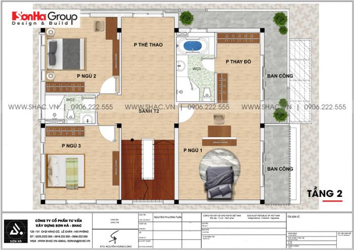 Bản vẽ mặt bằng tầng 2 biệt thự hiện đại 3 tầng mái thái tại Hà Nam