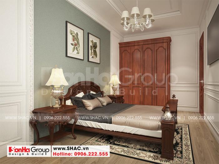 Nội thất phòng ngủ phong cách tân cổ điển vương giả với vật liệu gỗ tự nhiên có tone màu uy quyền