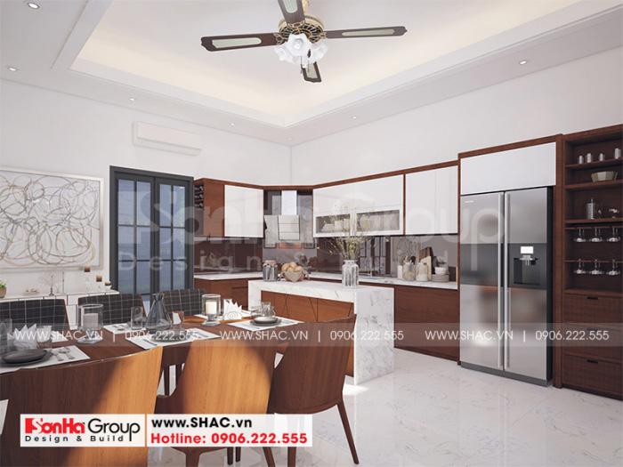Không gian bếp ăn đẹp và sang trọng với nội thất gỗ tạo hình tinh tế