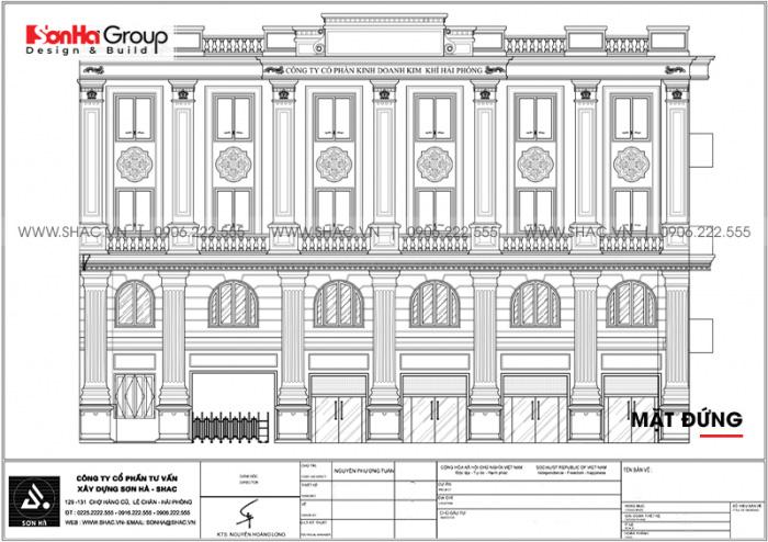 Bản vẽ mặt đứng tòa nhà văn phòng 4 tầng cho thấy sự khoa học, đăng đối trong cách sắp xếp, bố trí tri tiết trang trí