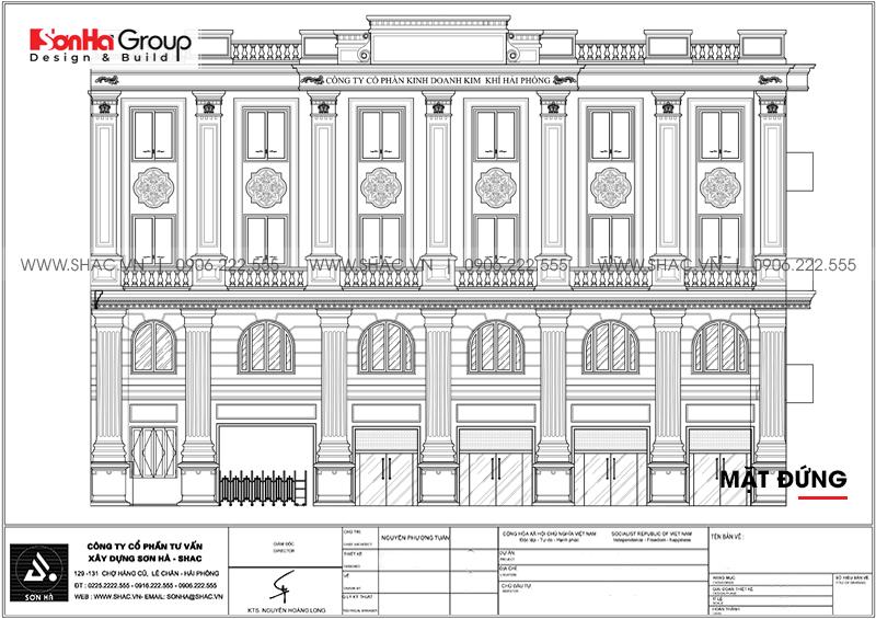 Thiết kế tòa nhà văn phòng 4 tầng kiến trúc tân cổ điển tại Hải Phòng - SH VP 0037 3