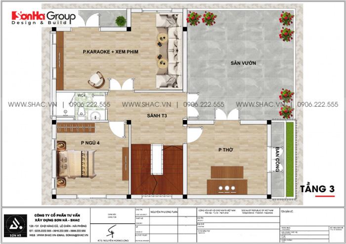 Bản vẽ mặt bằng tầng 1 biệt thự hiện đại 3 tầng mái thái mặt tiền 9m2