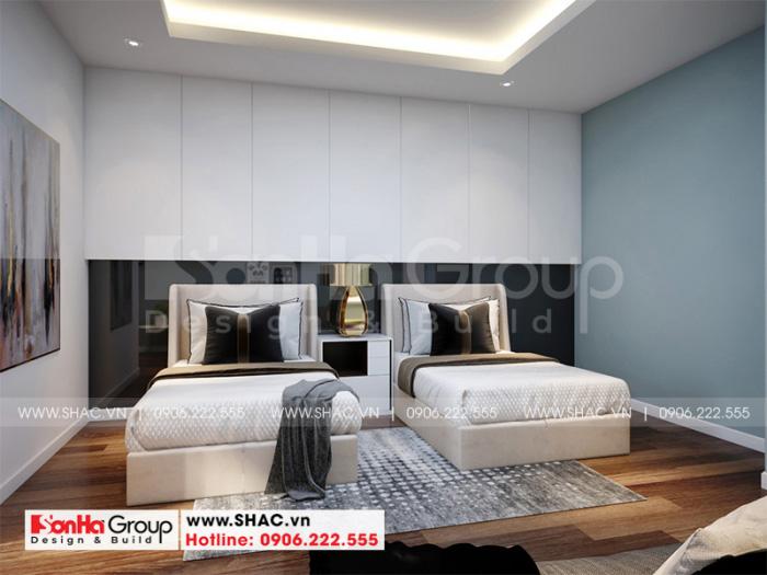 Mẫu nội thất phòng ngủ với thiết kế 2 giường đơn tiện dụng cho các vị khách đến thăm nhà