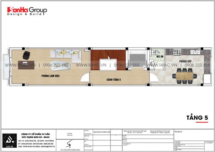 Mặt bằng công năng tầng 5 nhà ống tân cổ điển 6 tầng kết hợp kinh doanh