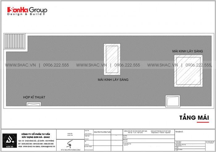 Bản vẽ mặt bằng công năng tầng mái nhà ống hiện đại diện tích sàn 127.89m2 tại Hải Phòng