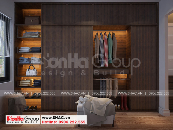 Thiết kế nội thất phòng thay đồ được đầu tư cả về vật liệu và hình thức