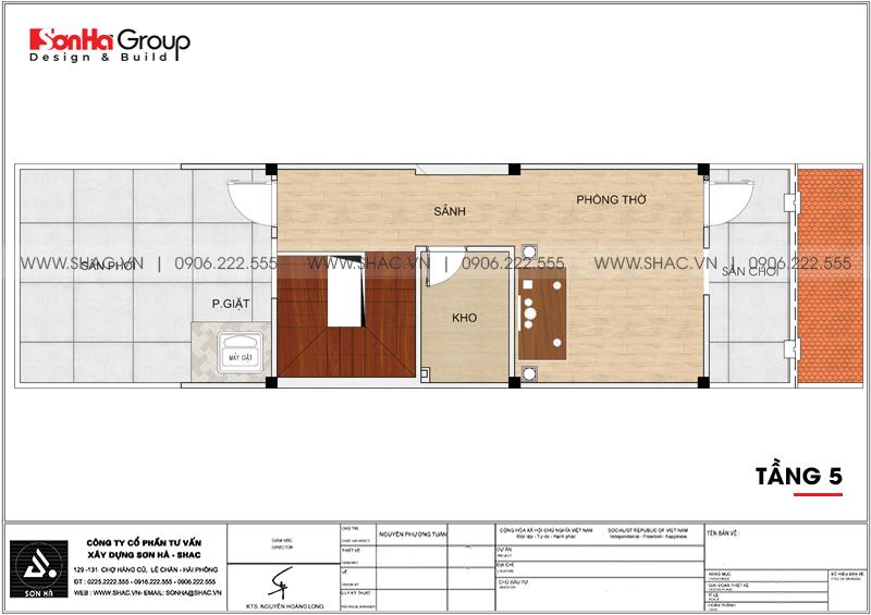 Thiết kế nhà ống tân cổ điển 5 tầng kết hợp kinh doanh tại Hà Nội – SH NOP 0192 8