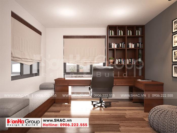 Thiết kế nội thất phòng làm việc trong không gian nội thất nhà ống hiện đại