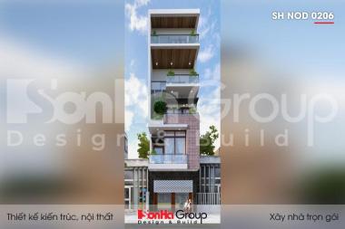 BÌA thiết kế nhà ống hiện đại 5 tầng mặt tiền 4,8m tại lạng sơn sh nod 0206