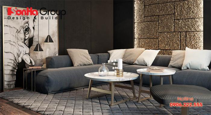 Bộ sofa với chất liệu mềm mại là điểm nhấn của những căn phòng khách hiện đại