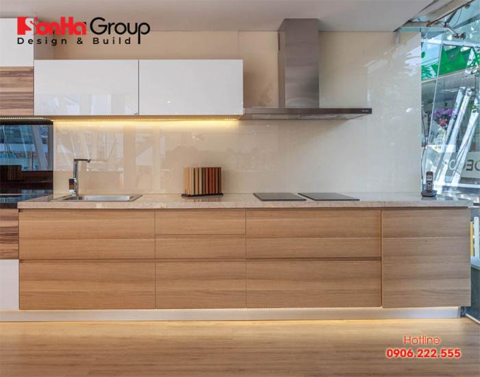 Bộ tủ bếp đẹp cho phòng bếp sang trọng làm từ gỗ MDF An Cường