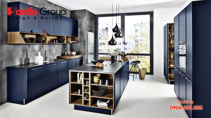 Căn phòng bếp ăn hiện đại có thiết kế nội thất tiện nghi, màu sắc độc đáo