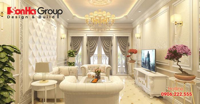 Gam màu vàng hoàng kim điển hình thiết kế phòng khách tân cổ điển