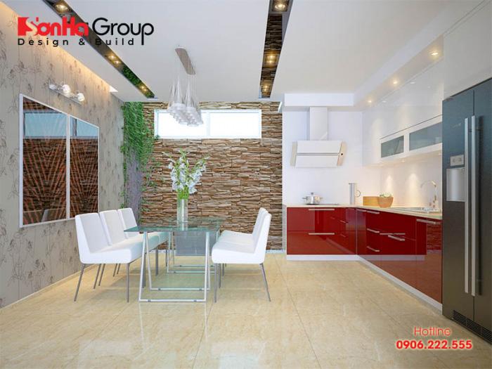 Không gian phòng bếp ăn hiện đại và ngăn nắp diện tích chỉ 12m2