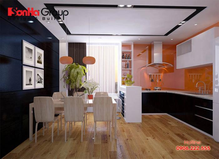 Không gian phòng bếp đẹp và tiện nghi được bố trí vật dụng ngăn nắp, diện tích nhỏ 14m2 khoa học nhất