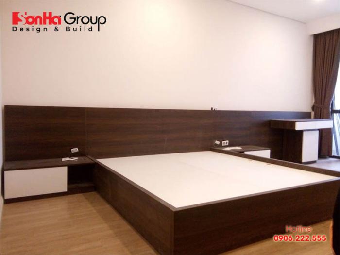 Mẫu giường phòng ngủ đẹp làm từ gỗ công nghiệp MFC An Cường