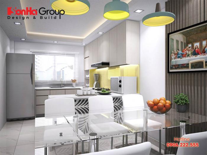 Mẫu phòng bếp hiện đại diện tích sử dụng 14m2 bố trí hợp phong thủy