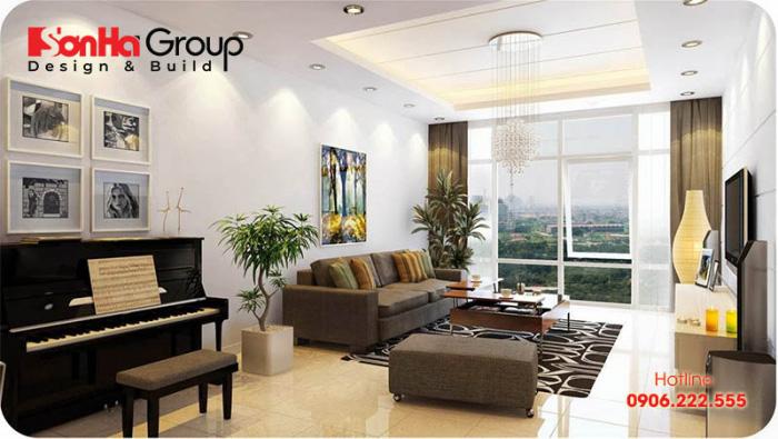 Mẫu thiết kế nội thất phòng khách căn hộ chung cư phong cách hiện đại