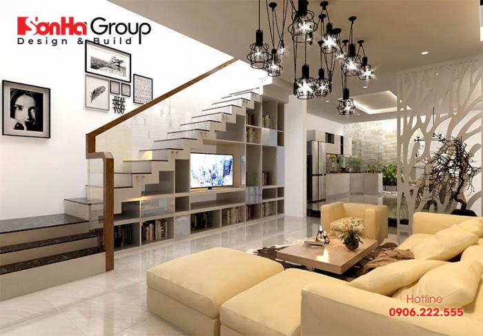 Mẫu thiết kế phòng khách có cầu thang đẹp phong cách hiện đại