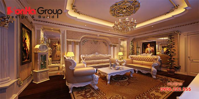 Mẫu thiết kế phòng khách tân cổ điển đẹp và sang đến từng tiểu tiết
