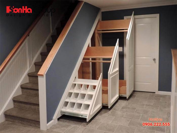 Mẫu tủ gầm cầu thang đẹp mắt, tiện lợi và dễ sử dụng