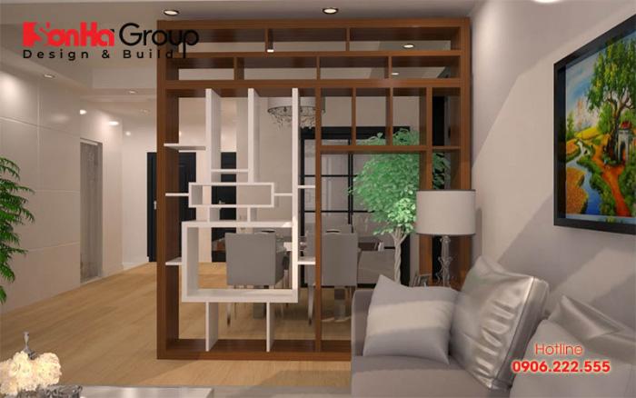 Mẫu vách ngăn phòng khách đẹp được làm bằng chất liệu gỗ