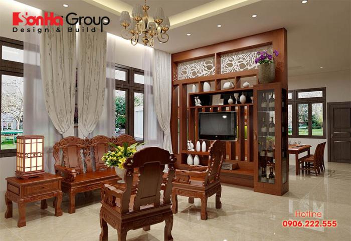 Mẫu vách ngăn phòng khách và bếp làm bằng gỗ tự nhiên cao cấp