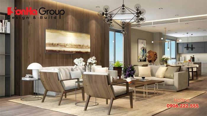 Nội thất gỗ làm tôn thêm nét đẹp không gian phòng khách liền bếp