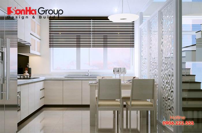 Nội thất phòng bếp ăn diện tích nhỏ chỉ 10m2 với tone màu sáng hợp thời