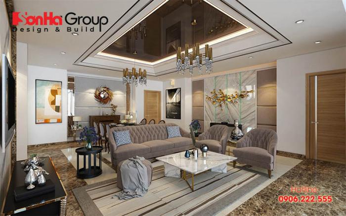 Phương án thiết kế nội thất phòng khách biệt thự sang trọng