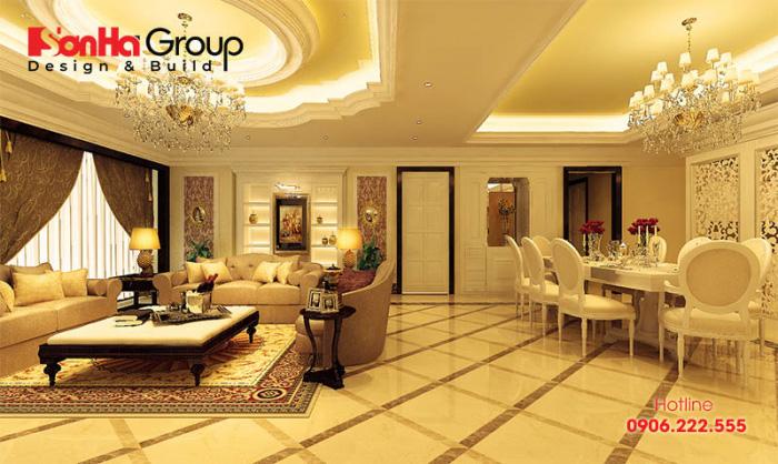 Sự kết hợp nội thất và vật liệu trong bố trí phòng khách tân cổ điển