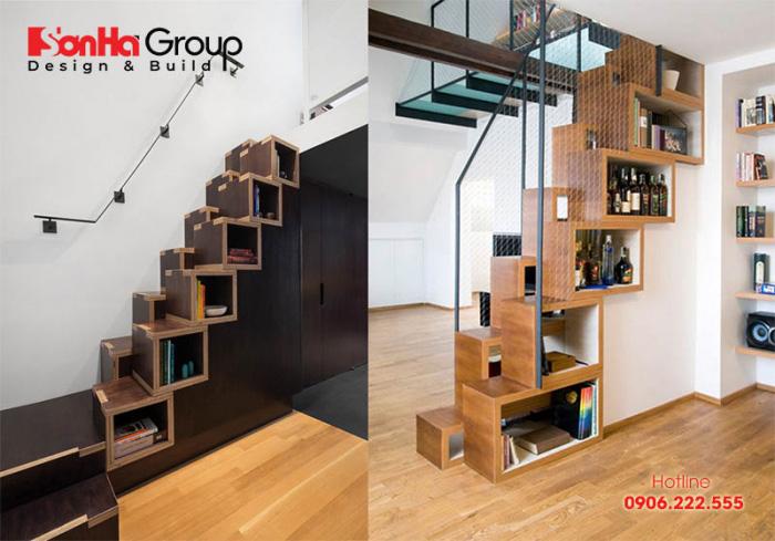 Tận dụng gầm cầu thang làm tủ trưng bày tiện ích lại vừa trang trí không gian