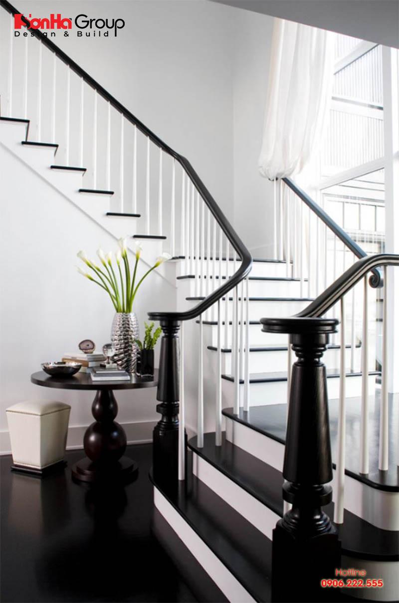 Thêm phương án thiết kế cầu thang nhà ống kết hợp màu trắng đen