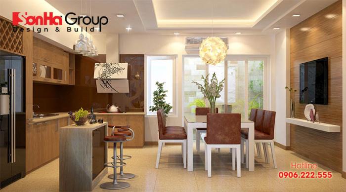 Thiết kế nội thất phòng bếp nhỏ được đánh giá cao nhờ việc lựa chọn gam màu sáng và sử dụng vật liệu gỗ công nghiệp vô cùng cao cấp