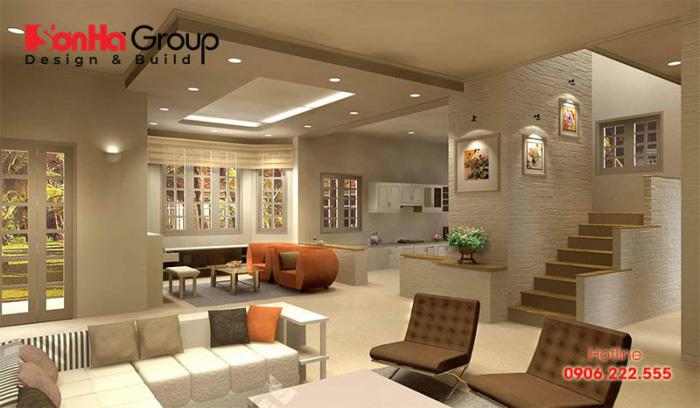 Thiết kế nội thất phòng khách sử dụng đèn led âm trần làm đẹp không gian