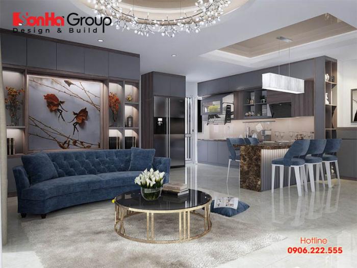 Thiết kế phòng khách liền bếp cho căn hộ chung cư cao cấp