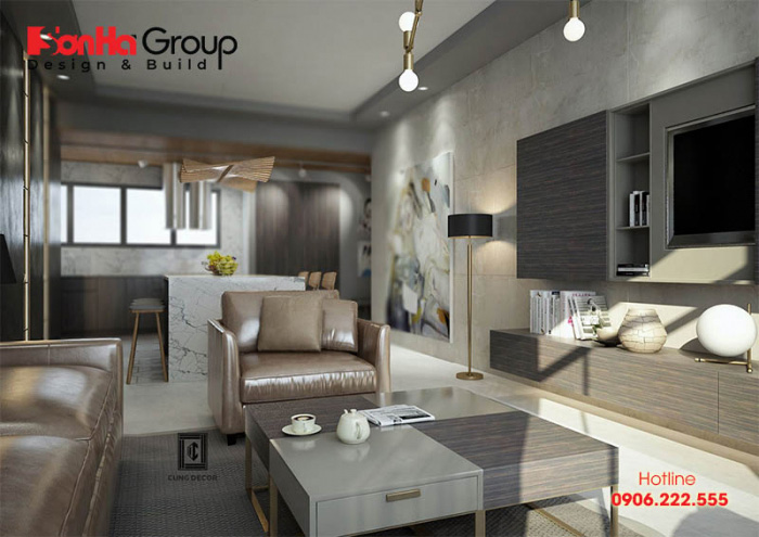 Thiết kế phòng khách liền bếp giúp tiết kiệm không gian mà vẫn tiện nghi